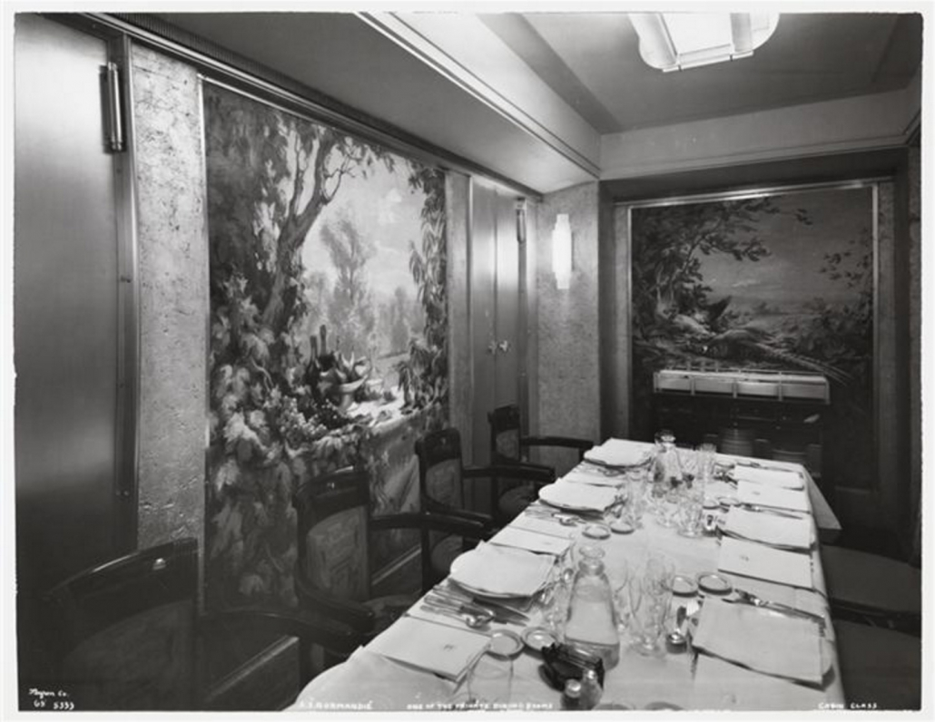 Salle à manger privée - 1ère classe - Paquebot Normandie