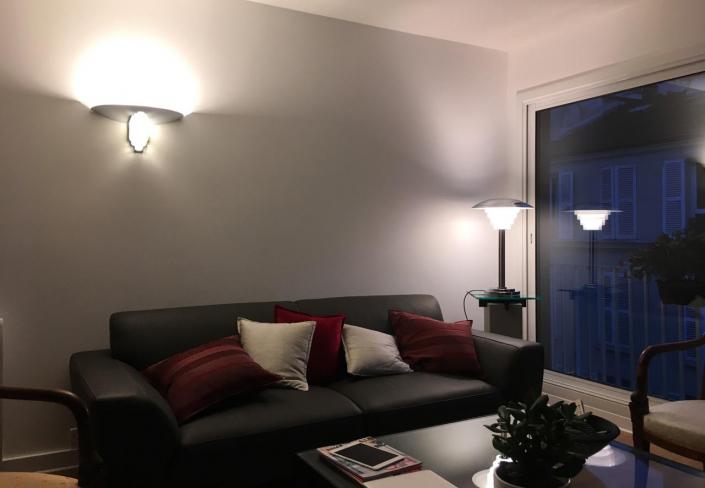 Appartement client – Lampe REF. 162 et Applique 542 bis Jean Perzel