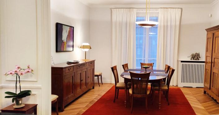 Appartement client – Plafonnier REF. 601 TER - Lampe REF. 144 Jean Perzel